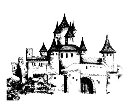 Fairytale castle. Medieval castle isolated on white background. Graphic hand drawing. Vector illustration