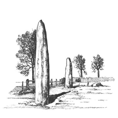 Menhirs, vertical stones of unknown origin, vector illustration. Graphic sketch drawing. Megaliths. Stone Age. Illustration