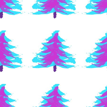 Seamless pattern with Christmas trees. Xmas tree hand drawn, template for new year greeting card or packaging decoration holiday