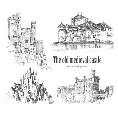 Set of medieval castle isolated on cream background. Graphic drawing. Graphic hand drawing - Vector illustration