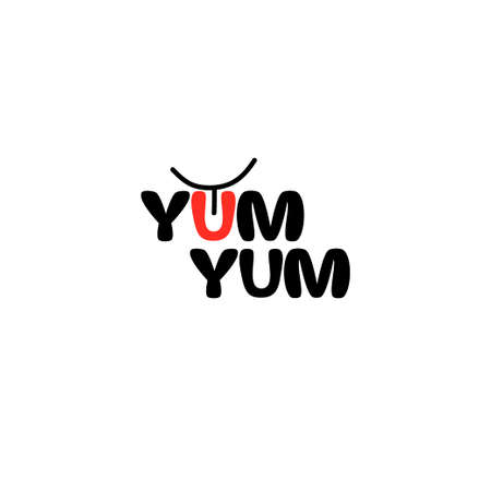 Yum Yum logo text. Cartoon hand drawn calligraphy style.Design doodle for print. Vector illustration.