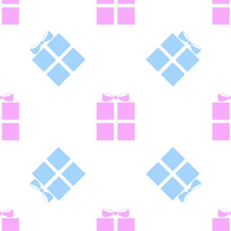 Blue and pink holiday box with a bow icon isolated seamless pattern on white background. Vector illustration