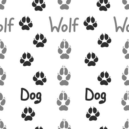Gray footprint of an animal dog and wolf isolated seamless pattern on white background. Vector illustration Ilustração