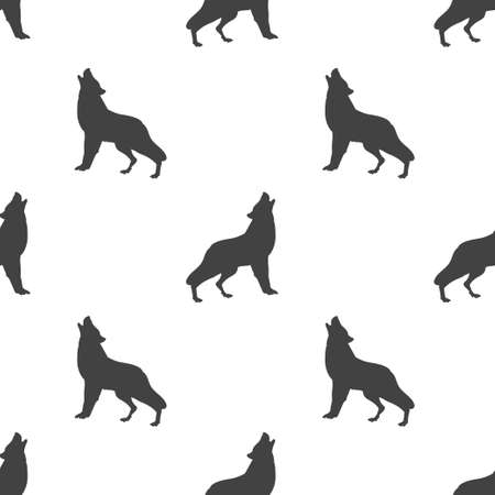 Gray silhouette wolf isolated seamless pattern on white background. Vector illustration