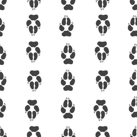 Gray footprint of wolf and silhouette wolf isolated seamless pattern on white background. Vector illustration