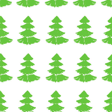 Seamless pattern with Christmas trees. Xmas tree hand drawn, template for new year greeting card or packaging decoration holiday - Vector illustration Ilustração