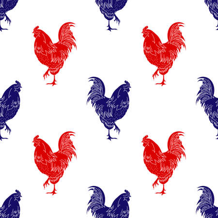 Blue and red cock icon isolated seamless pattern on white background. Vector Illustration