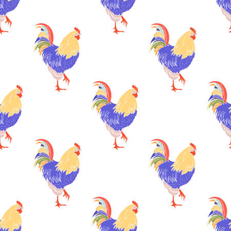 Colored cock icon isolated seamless pattern on white background. Vector illustration