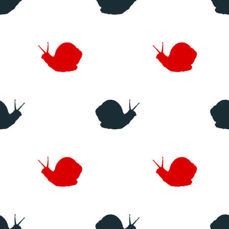 Black and red snail icon isolated seamless pattern on white background. Vector illustration