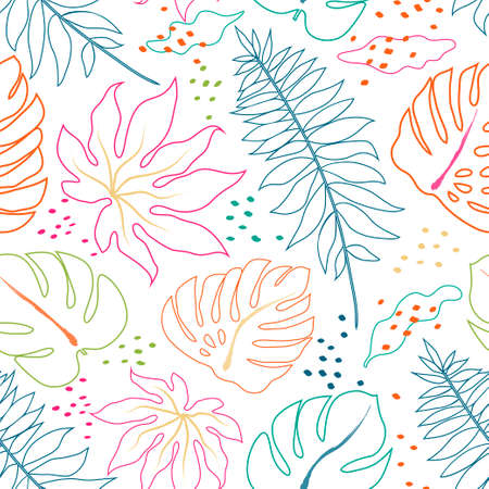 Vector tropical abstract seamless pattern. Tropical colorful leaves. Vector illustration Ilustração