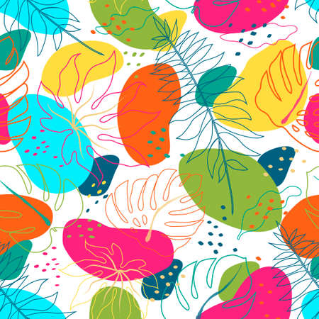 Tropical colorful leaves and organic shapes. Vector tropical abstract seamless pattern. Vector illustration