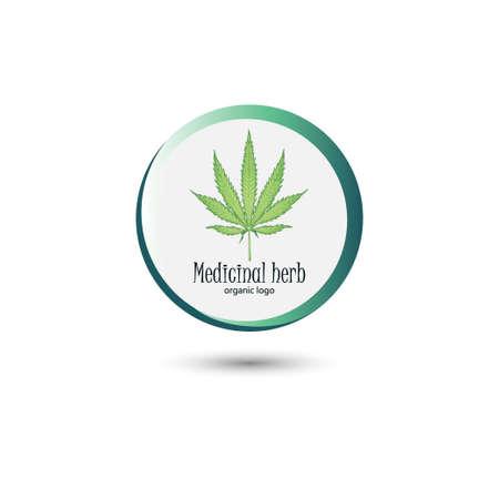 Medical marijuana logo. Hemp leaf in a round frame. Concise logo for design. Vector illustration