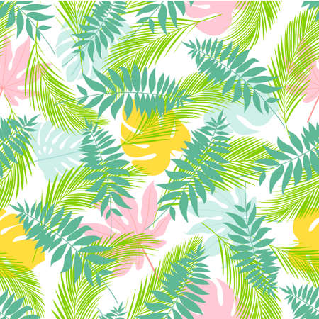 Seamless pattern with palm and tropical leaves. Hawaiian shirt with tropical leaf pattern. Vector illustration Ilustração