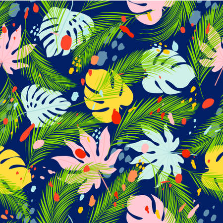 Seamless pattern with palm and tropical leaves and paint spots on dark background. Hawaiian shirt with tropical leaf pattern. Vector illustration Ilustração