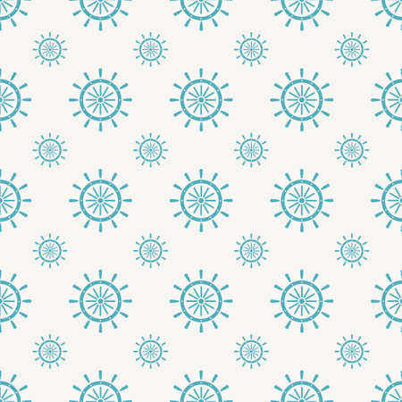 Blue Ship steering wheel icon isolated seamless pattern on gray background. Vector Illustration