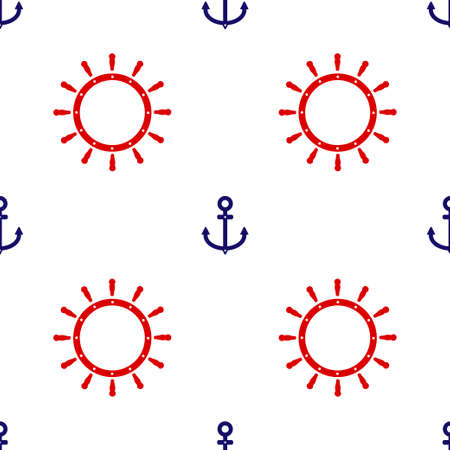 Red Ship steering wheel and blue anchor icon isolated seamless pattern on white background. Vector illustration Ilustração