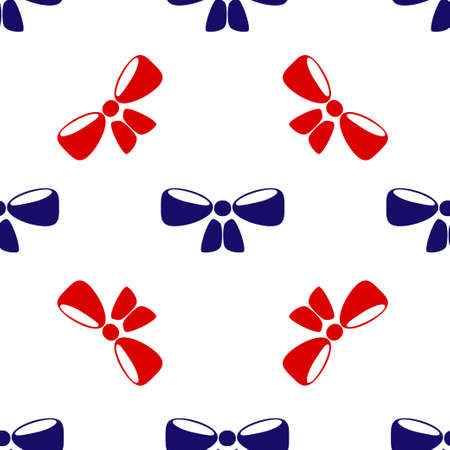 Blue and red bow icon isolated seamless pattern on white background. Vector illustration Ilustração