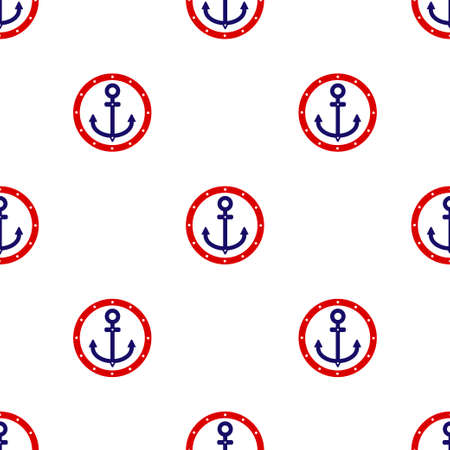 Red and blue anchor icon isolated seamless pattern on white background. Vector illustration