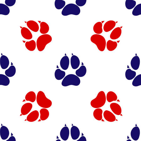 Blue and red animal dog footprint icon isolated seamless pattern on white background. Vector Illustration Ilustração