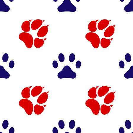 Blue and red footprint of an animal dog and cat icon isolated seamless pattern on white background. Vector illustration