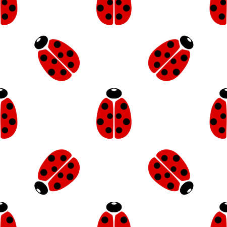 Red coccinellidae icon isolated seamless pattern on white background. Vector illustration