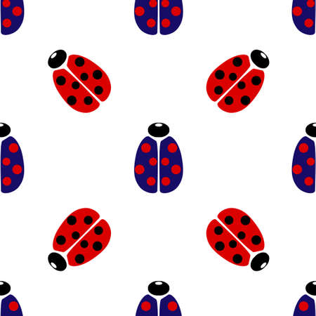Blue and red coccinellidae icon isolated seamless pattern on white background. Vector illustration