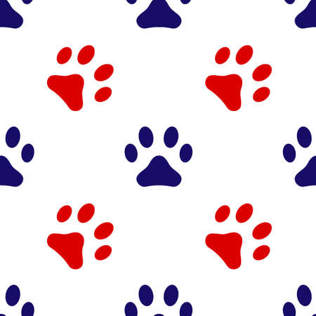 Blue and red animal cat footprint icon isolated seamless pattern on white background. Vector illustration
