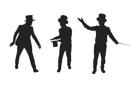 Set of magician silhouette. vector illustration