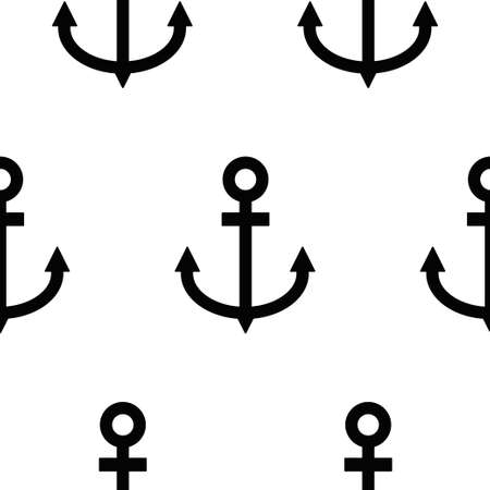 Black Anchor icon isolated seamless pattern on white background. Vector illustration