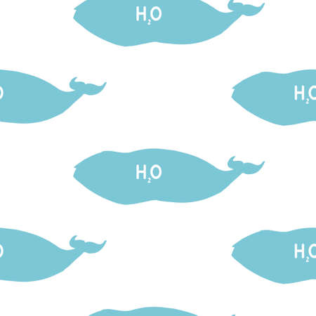 Vector Silhouette Seamless Pattern With Whales In Sketch Style.