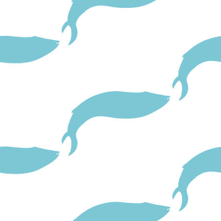 Vector Silhouette Seamless Pattern With Blue Whales In Sketch Style. Ilustração