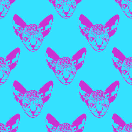 Sphinx kittens. Prints for clothes, T-shirts. Vector illustration Ilustração