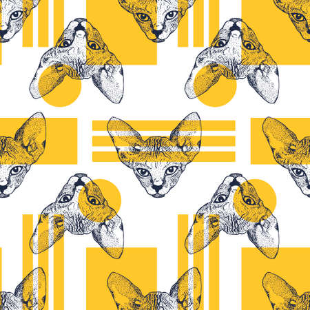 Heads Sphinx kittens seamless pattern with yellow geometric shapes. The cat is spotty. Prints for clothes, T-shirts. Vector illustration