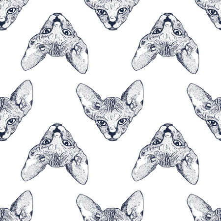 Heads Sphinx kittens seamless pattern. The cat is spotty. Prints for clothes, T-shirts. Vector illustration