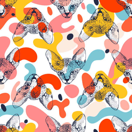 Heads Sphinx kittens seamless pattern with colorful spots. The cat is spotty. Prints for clothes, T-shirts. Vector illustration Ilustração