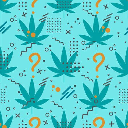 Marijuana or cannabis leaf icon seamless pattern with geometric shapes on blue background. Hemp symbol. Vector Illustration