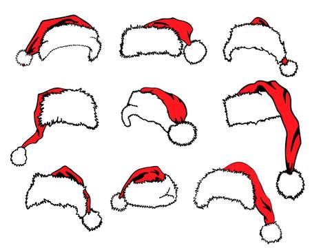 Set of red Santa Claus hats isolated on white background - Vector illustration Ilustração