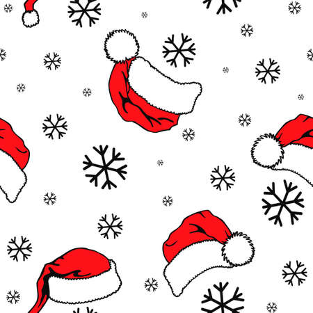 Santa Claus hat and snowflakes seamless pattern. Vector design in retro style. Hand drawn doodle pattern seamless. Festive Christmas packaging Illusztráció
