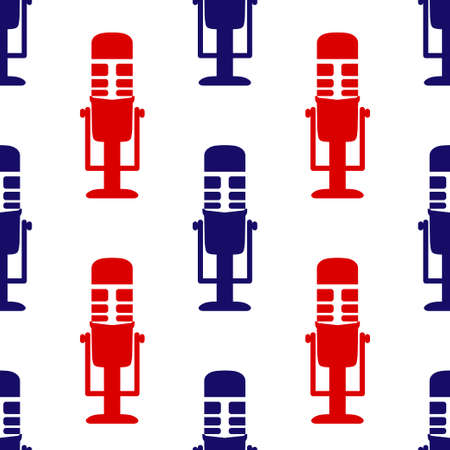 Microphone icon seamless pattern. Image Personal assistant and voice recognition concept flat illustration of sound symbol intelligent technologies. Audio sound icon symbol flat design. Vector illustration
