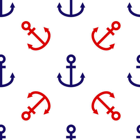 Blue and red Anchor icon isolated seamless pattern on white background. Vector Illustration