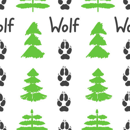 Gray footprint of wolf and forest isolated seamless pattern on white background. Vector illustration 向量圖像