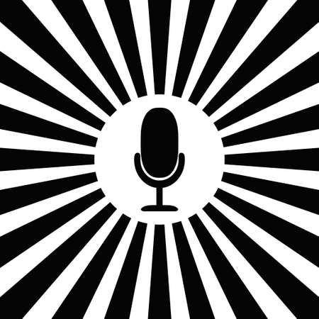 Microphone icon in white circle on striped black and white backdrop background. On air radio mic microphone. Speaker sign. Abstract circle rays