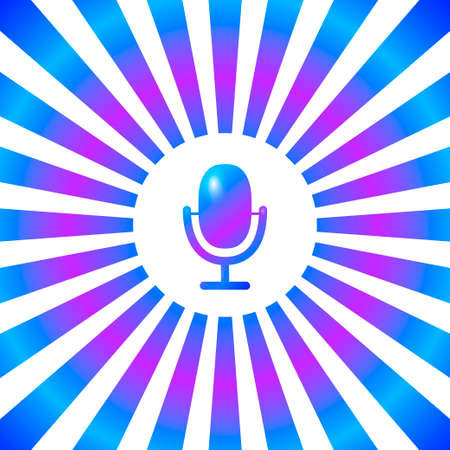 Microphone icon in white circle on striped neon backdrop background. On air radio mic microphone. Speaker sign. Beam style neon