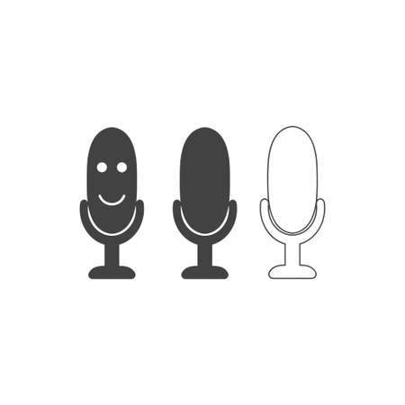 Microphone icon set. Vector image Personal assistant and voice recognition concept. Speaker sign.