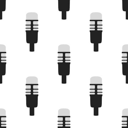 Microphone icon seamless pattern. Vector icon Personal assistant and voice recognition concept flat illustration of sound symbol intelligent technologies.