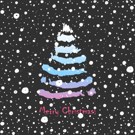 Christmas tree. Card design with a hand drawn colorful Christmas tree and snow with Merry Christmas text on dark background. Minimalism design Merry Christmas postcard -Vector illustration