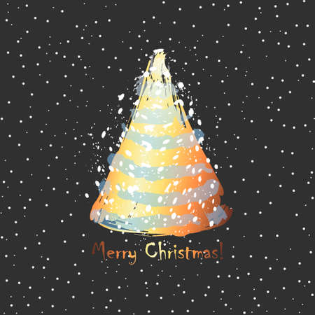 Christmas tree. Card design with a hand drawn golden Christmas tree and snow with Merry Christmas text. Minimalism design Merry Christmas postcard -Vector illustration