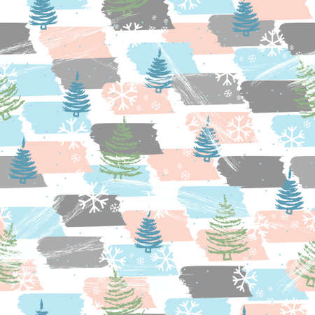 Seamless pattern with Christmas trees and snowflakes - Vector illustration Zdjęcie Seryjne