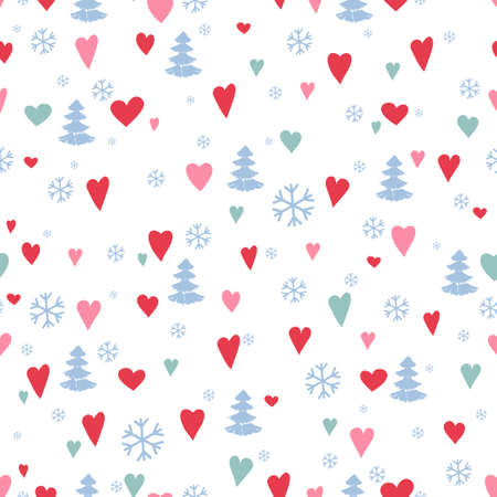 Seamless pattern with cute forest. Pine trees, hearts, Christmas trees, fir, snowflake Vector illustration