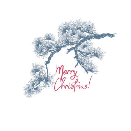 Christmas pine tree branch, hand drawn vintage style. Vector illustration Vektorgrafik